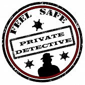 stock photo of private detective  - Private detective grunge rubber stamp on white vector illustration - JPG