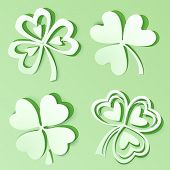 image of triskele  - Green cutout paper vector clovers with shadows - JPG