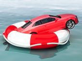 image of save water  - Car savings or vehicle insurance protection concept Vehicle on a life preserver saved from sinking - JPG