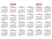 image of calendar 2014  - 2014 and 2015 years calendar over white - JPG