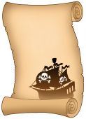 Scroll With Pirate Ship Silhouette