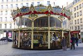 Traditional fairground carousel in Lyon, France