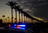 stock photo of lightbar  - A police car with its lights on in Anaheim on Gene Autry Way in the resort area - JPG