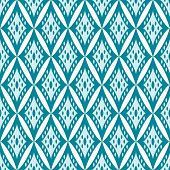 Simple geometric ikat seamless pattern in blue, vector