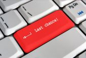 Red Keyboard Enter Key Saying Last Chance