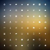 stock photo of universal sign  - Vector set of universal outlined web icons on blurred background - JPG