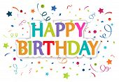 picture of confetti  - Vector Illustration of Happy birthday greetings with confetti - JPG