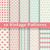 Vintage fashionable vector seamless patterns (tiling).