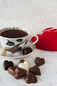 Tea Cup With Heart Shaped Chocolates