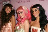 Anna Estella with Audrey Kitching and Grecia Valarie  at the Pink Plastic Party of the Year celebrat