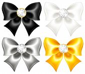 Silk Bows Black And Gold With Diamonds