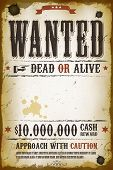 stock photo of gunshot  - Illustration of a vintage old wanted placard poster template with dead or alive inscription cash reward like in far west and western movies - JPG
