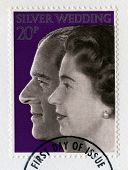 British Postage Stamp Celebrating The Queen's Silver Wedding Anniversary
