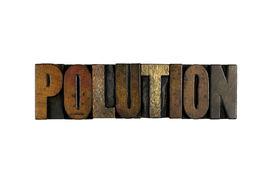picture of polution  - The word POLUTION written in vintage letterpress type - JPG