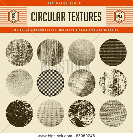 set of 12 highly detailed circular vector textures - great as backgrounds for vintage emblems or as  poster