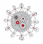 Teamwork business. A business team around gears. It's a metaphor of a brainstorming or a think tank