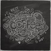 Coffee hand lettering On Chalkboard