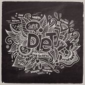 Diet Vector hand lettering On Chalkboard