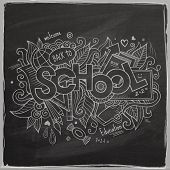 School Vector hand lettering On Chalkboard