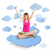 Lucky Woman On Cloud White Background