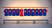 Red and Blue Football Shirts 3-5