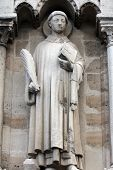 PARIS, FRANCE - NOV 05,2012: Saint Stephen, architectural detail of Cathedral Notre Dame de Paris, m