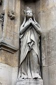 PARIS, FRANCE - NOV 11, 2012: Saint Radegund statue, Church of St-Germain-l'Auxerr ois founded in th