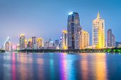 Xiamen, China skyline at twilight.