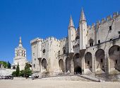 Pope Palace In Avignon. Central Square, Provence, Cote D'azur, France, Europe