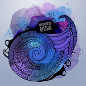 Vector watercolor decorative spiral design