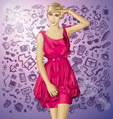 Sale concept. Vector surprised blonde in pink dress