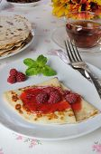 a Pancake With Raspberry Jam