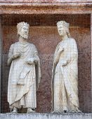 PARMA, ITALY - MAY 01, 2014: Saints, marble statue on the baptistry from Benedetto Antelami. Baptist