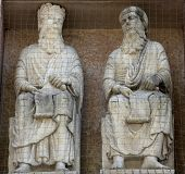 PARMA, ITALY - MAY 01, 2014: Saints, marble statue on the baptistery from Benedetto Antelami. Baptis