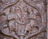 PARMA, ITALY - MAY 01, 2014: Detail of marble carvings on the baptistery from Benedetto Antelami. Ba
