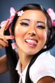 Young Japanese Woman Tease Face Emotion