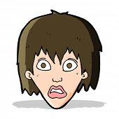cartoon frightened woman