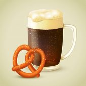 pic of porter  - Glass mug of cold dark porter stout beer with froth and salt pretzel emblem vector illustration - JPG