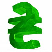 Green Ukrainian Hryvnia Sign On White