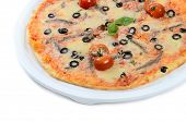 The Italian pizza with house anchovies and olives
