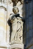 PARIS, FRANCE - NOV 06, 2012: Statue of Saint, St-Jacques Tower is 52-meters (171 ft) Flamboyant Gothic tower is all that remains of the former 16th-century Church of Saint-Jacques-de-la-Boucherie