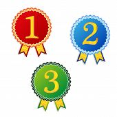 One two three place winner badges
