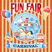 stock photo of carnival ride  - Vintage carnival fun fair theme park poster template vector illustration - JPG