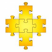 3D Golden Puzzle Forming Plus Symbol