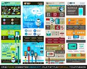 One page website flat UI design template SET 1. It include a lot of flat stlyle icons, forms, header