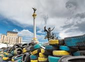 Kiev, Ukraine, colorful tires yellow and blue