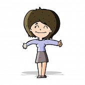 cartoon woman giving thumbs up sign