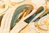 The carving tools with billets, close up
