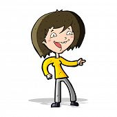 cartoon woman laughing and pointing