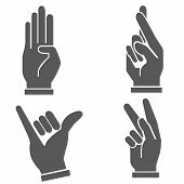 stock photo of pinky  - set of four hand sign in various gestures - JPG